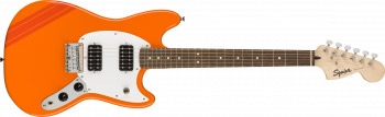 Fender Squier FSR Bullet  Competition Mustang HH, Laurel Fingerboard, Competition Orange with Fiesta Red Stripes