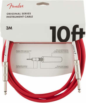 Fender Original Series Instrument Cable, 10', Fiesta Red  3 metri
