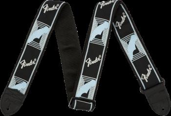 "FENDER 2"" Monogrammed Strap, Black/Light Grey/Blue Tracolla"