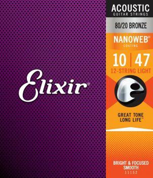 Elixir 11152 Nanoweb 80/20 Bronze Per 12 Corde String Light