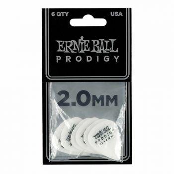 Ernie Ball 9202 Confezione di 6 plettri Prodigy White Standard da 2.0 mm