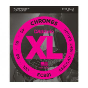 D'Addario ECB81 Chromes per basso, Light, 45-100, Long Scale